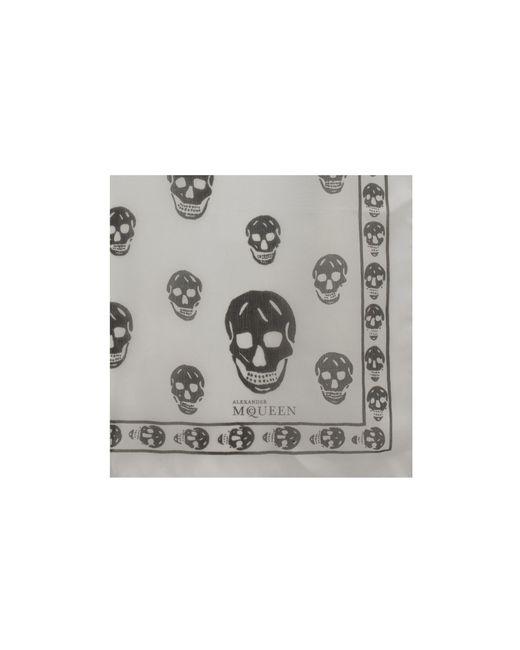 Alexander McQueen | White Skull-print Silk-chiffon Scarf | Lyst