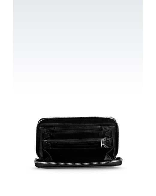 Armani Jeans | Black Zip Around Wallet In Faux Patent Leather With Logo | Lyst