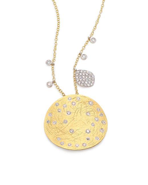 Meira T   Metallic Diamond, 14k Yellow & White Gold Disc Pendant Necklace   Lyst