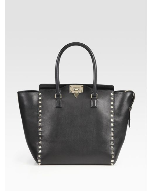 Valentino   Black Rockstud Smooth Leather New Tote   Lyst