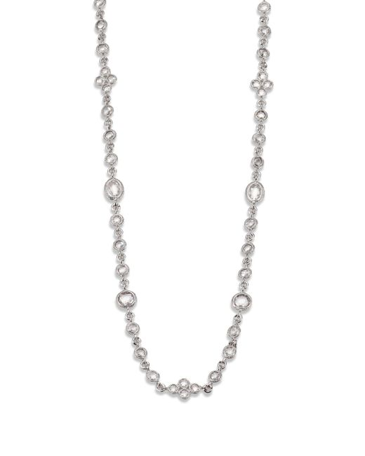 Adriana Orsini   Metallic Faceted Double Wrap Necklace/rhodium-plated   Lyst