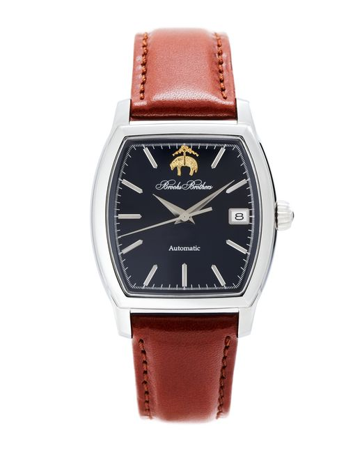 Brooks Brothers   Blue Rectangular Watch With Calfskin Band for Men   Lyst