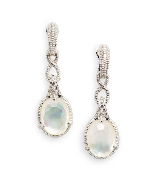 Judith Ripka | Metallic Allure White Sapphire, Rock Crystal, Mother-of-pearl & Sterling Silver Drop Earrings | Lyst