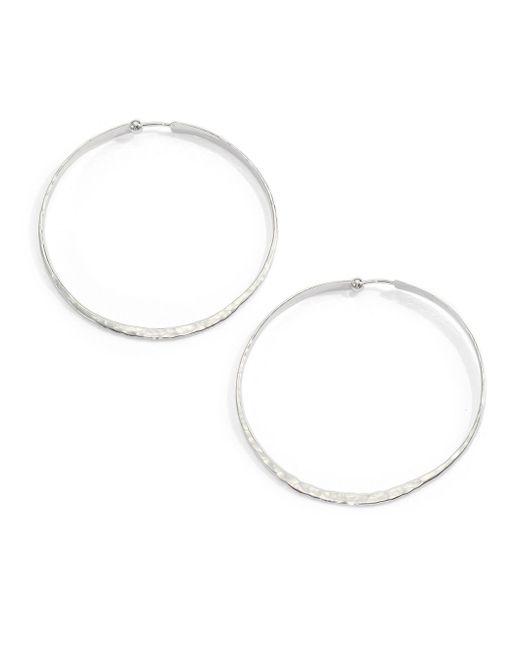 Saks Fifth Avenue | Metallic Sterling Silver Hammered Hoop Earrings | Lyst