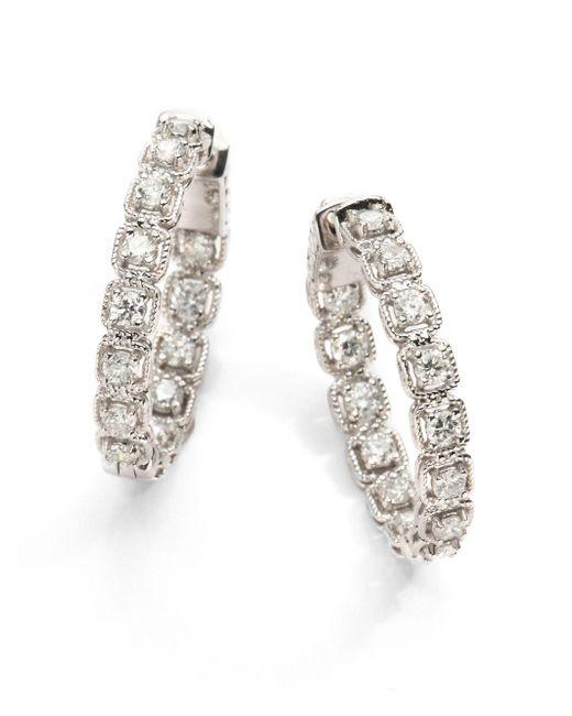 "Saks Fifth Avenue | 2 Tcw Ideal Cut Colorless Certified Diamond & 14k White Gold Hoop Earrings/1"" | Lyst"