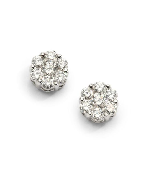 Saks Fifth Avenue | 0.75 Tcw Ideal Cut Colorless Diamond Floral & 18k White Gold Earrings | Lyst