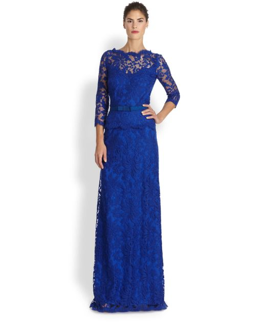Saks Fifth Avenue Wedding Gowns: Tadashi Shoji Lace Peplum Gown In Beige (MARINA)