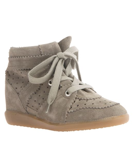 isabel marant bobby suede wedge trainers in brown save 64 lyst. Black Bedroom Furniture Sets. Home Design Ideas