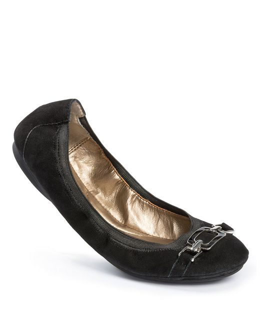 Me Too | Black Ava Leather Bit Flats | Lyst