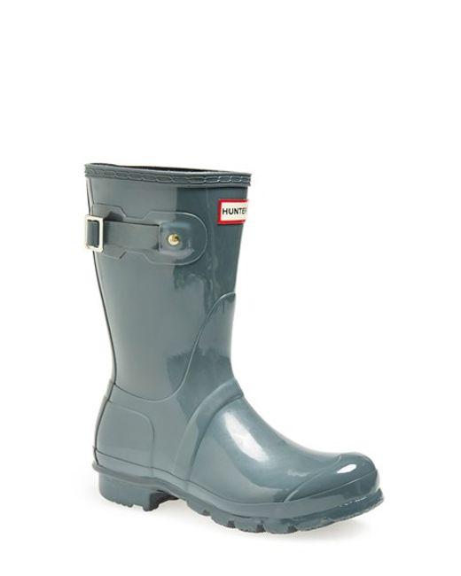 Hunter | Gray 'original Short' Gloss Rain Boot | Lyst