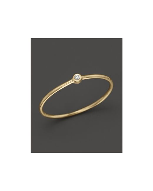 Zoe Chicco | Metallic 14k Yellow Gold Thin Ring With Diamond | Lyst