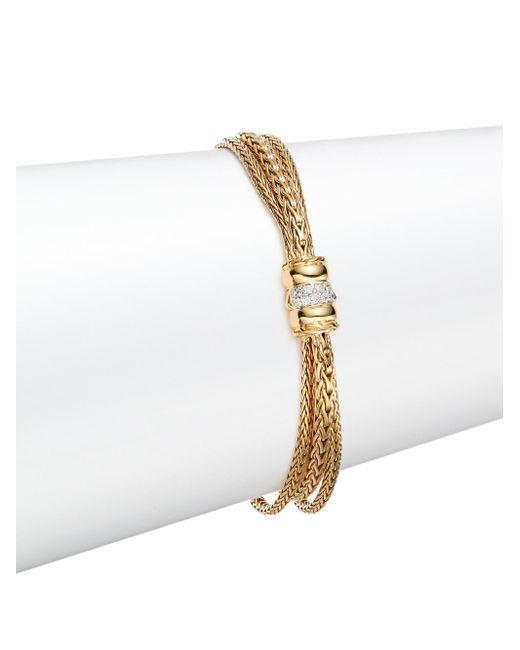 John Hardy | Metallic Bedeg 0.12 Tcw Diamond & 18k Yellow Gold Bracelet | Lyst