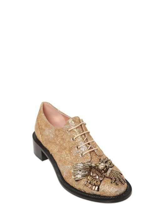 Rochas | Gold 20mm Embellished Lurex Brocade Shoes | Lyst