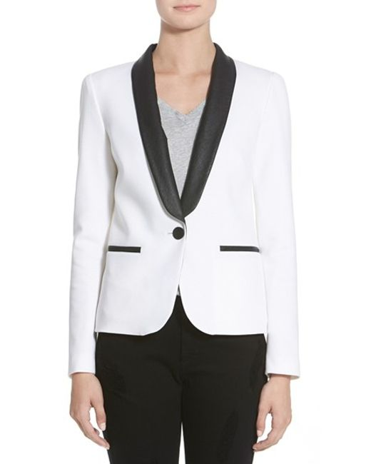 James Jeans | White Satin Combo Jacket | Lyst