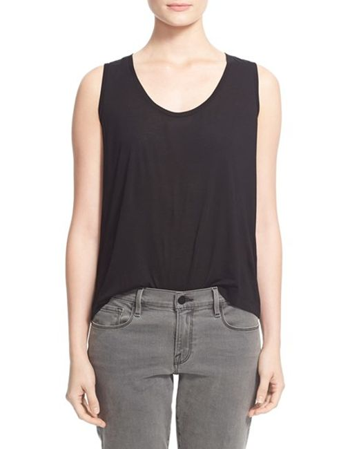 T By Alexander Wang   Black Low Neck Flared Tank   Lyst