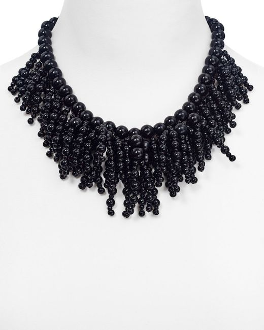 kate spade new york | Black Fringe Appeal Necklace, 17"