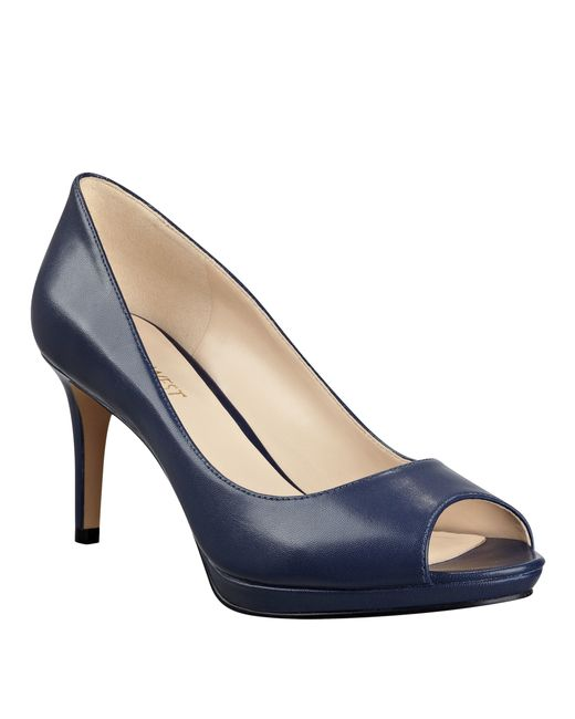 Navy Leather Shoes Pumps