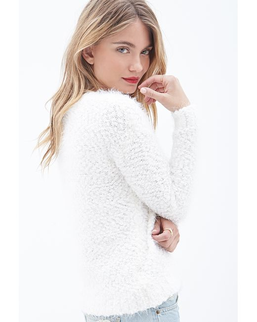 Forever 21 Faux Mohair Sweater In White Ivory Save 50