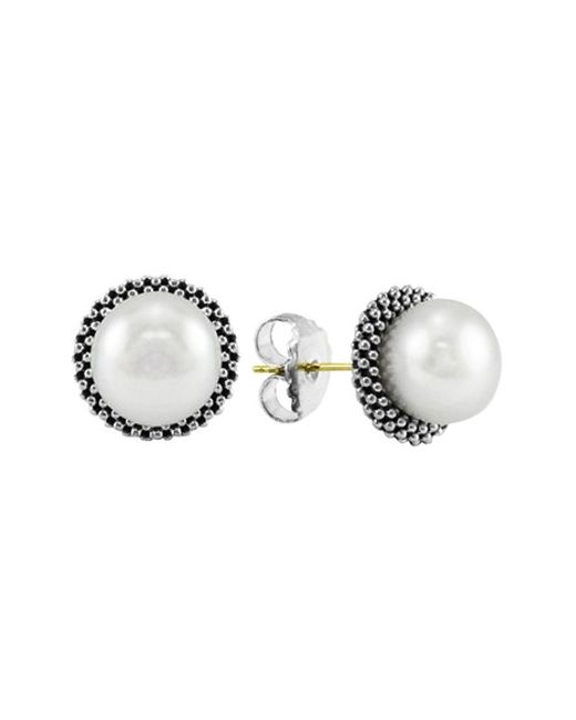 Lagos | Metallic 'luna' Pearl Small Stud Earrings | Lyst