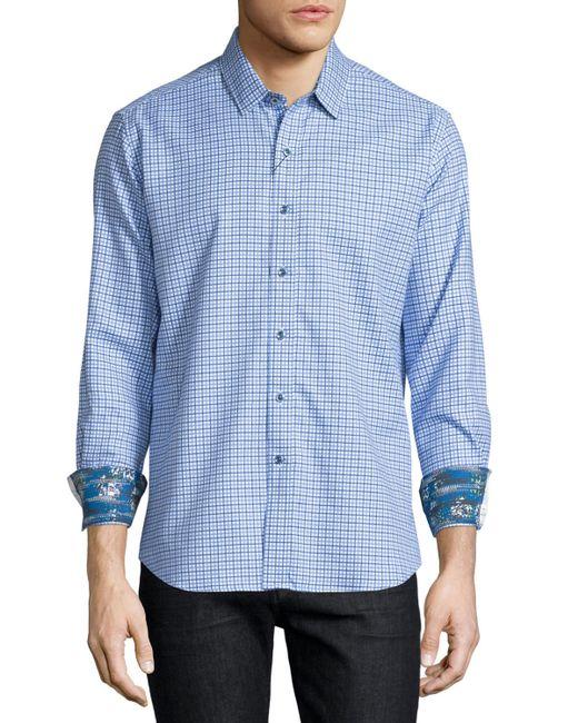 Robert graham conor check long sleeve sport shirt in blue for Robert graham sport shirt