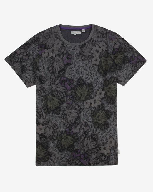 Ted Baker | Gray Leaf Print T-shirt for Men | Lyst