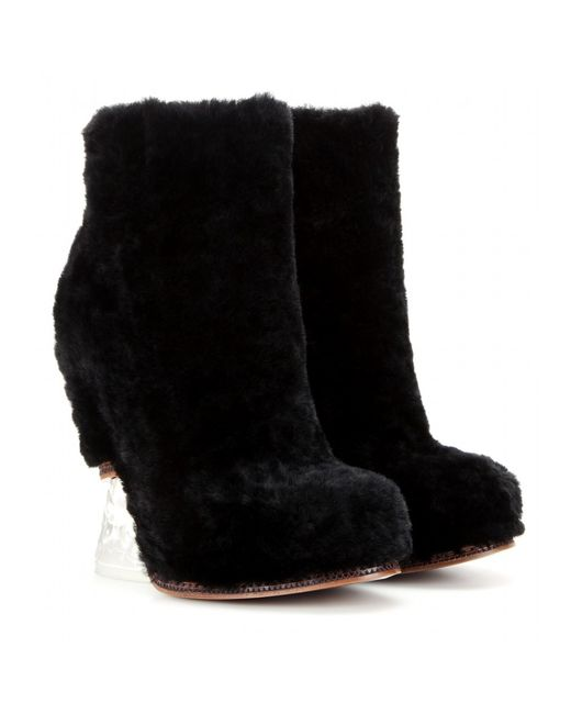 fendi sheep fur ankle boots in black lyst