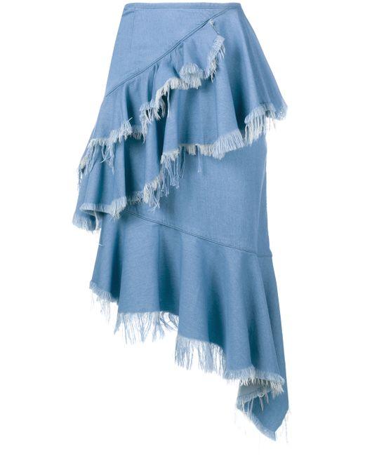 marques almeida frayed denim frill skirt in blue save 66