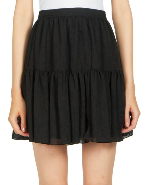laurent folk a line mini skirt in black save 76