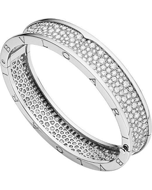 BVLGARI | Metallic B.zero1 18ct White-gold And Diamond Bangle | Lyst