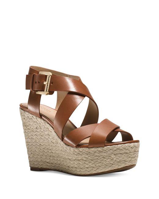 michael michael kors celia leather wedge sandals in brown