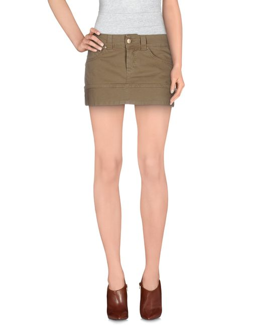 dondup denim skirt in khaki lyst