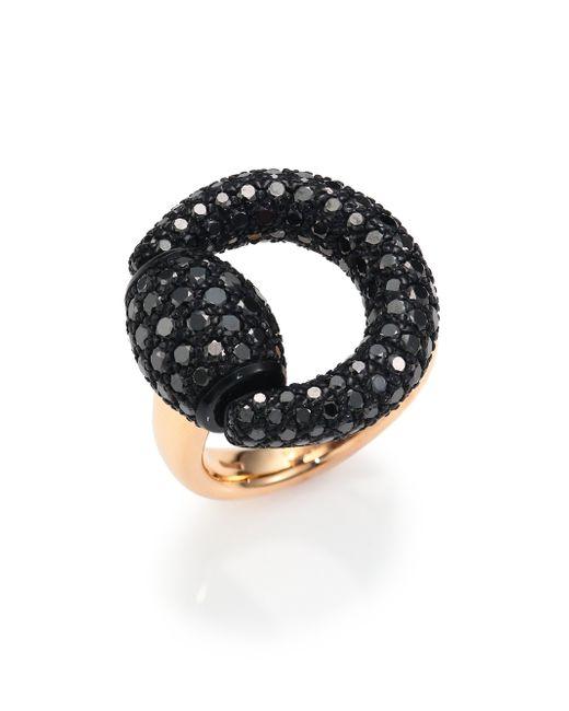 Gucci | Black Diamond & 18k Pink Gold Horsebit Ring | Lyst