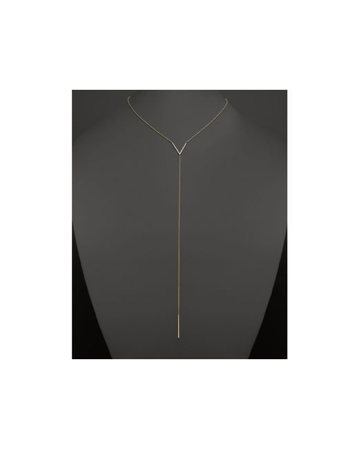 Zoe Chicco | Metallic 14k Gold V Necklace With Diamonds, 18"