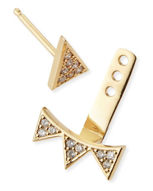 Sydney Evan   Metallic Single Earring With Diamond Triangle & 3-triangle Ear Jacket   Lyst