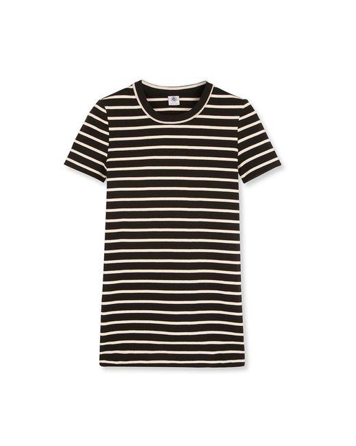 Petit bateau women 39 s striped crew neck tee in black lyst for Petit bateau striped shirt