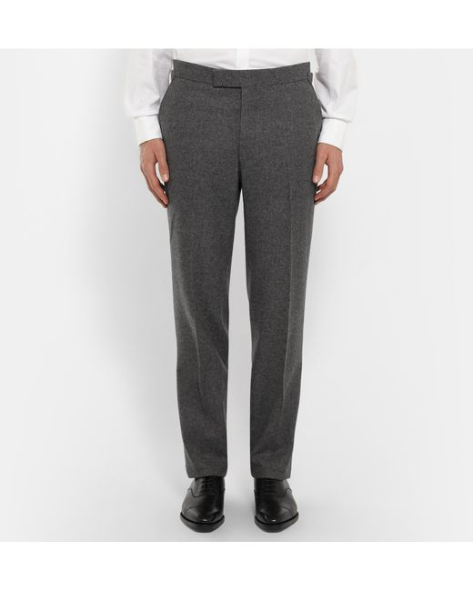 Kingsman grey slim fit wool flannel suit in gray for men for Women s slim fit flannel shirt