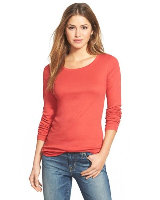 Caslon | Red Caslon Long Sleeve Scoop Neck Cotton Tee | Lyst