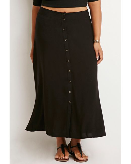 Forever 21   Black Plus Size Buttoned High-slit Maxi Skirt   Lyst