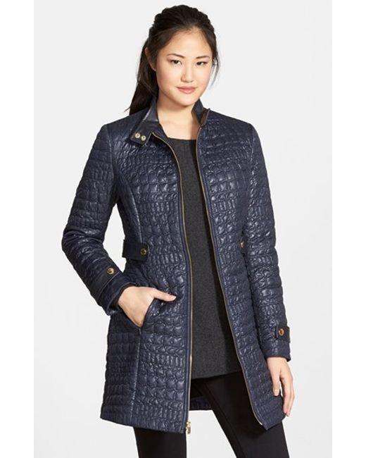 Via Spiga Faux Leather Trim Quilted Coat In Purple Navy