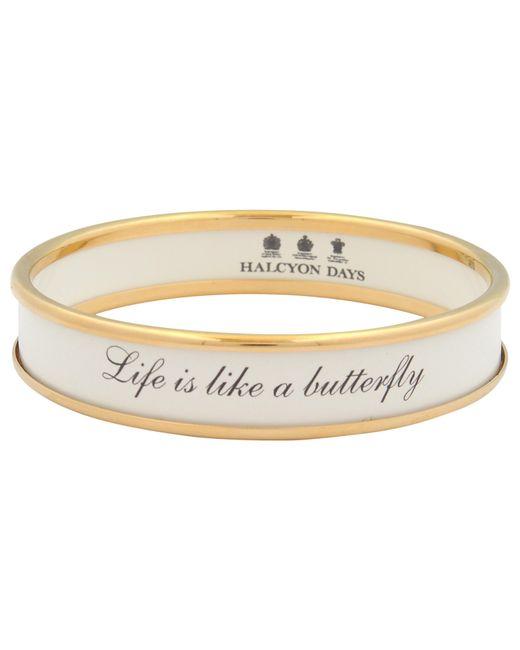 Halcyon Days | Metallic Life Is Like A Butterfly Enamel Bangle | Lyst