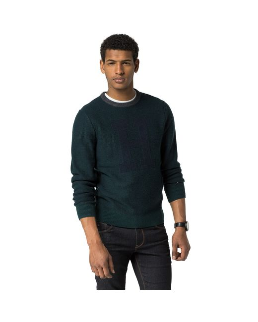 Tommy Hilfiger Wool H Crewneck Sweater In Green For Men