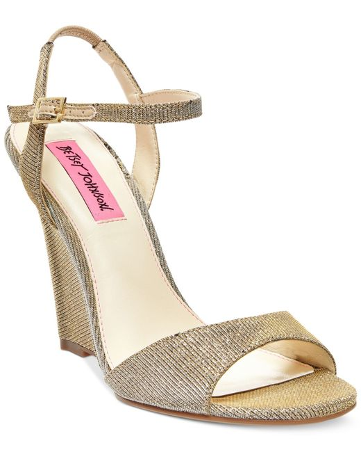 Betsey Johnson | Metallic Duane Wedge Sandals | Lyst