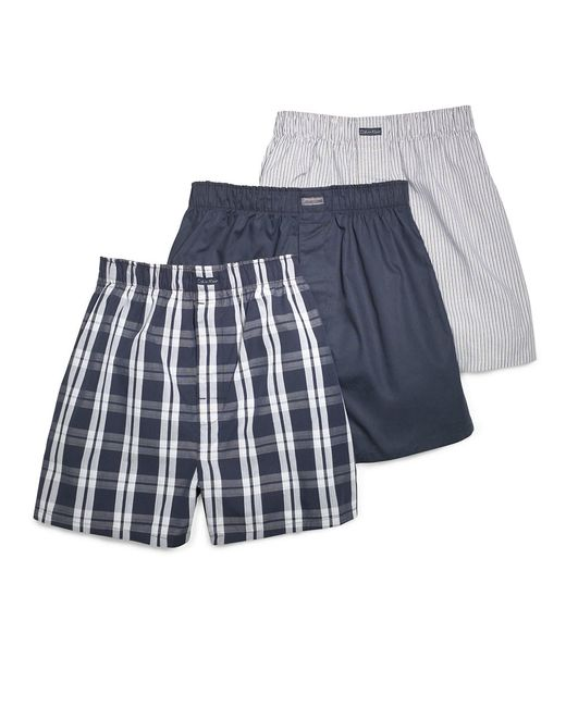 calvin klein three pack woven boxer shorts set in blue for. Black Bedroom Furniture Sets. Home Design Ideas