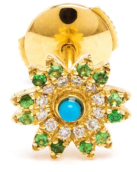 Yvonne Léon | Green Tsavorites, Diamonds And Turquoise Flower Stud Earring | Lyst