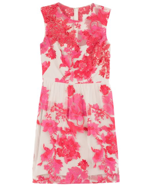 Notte by Marchesa | Pink Embroidered Applique Dress | Lyst