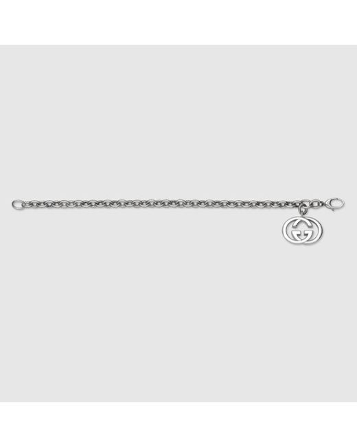 Gucci | Metallic Bracelet With Interlocking G Charm for Men | Lyst