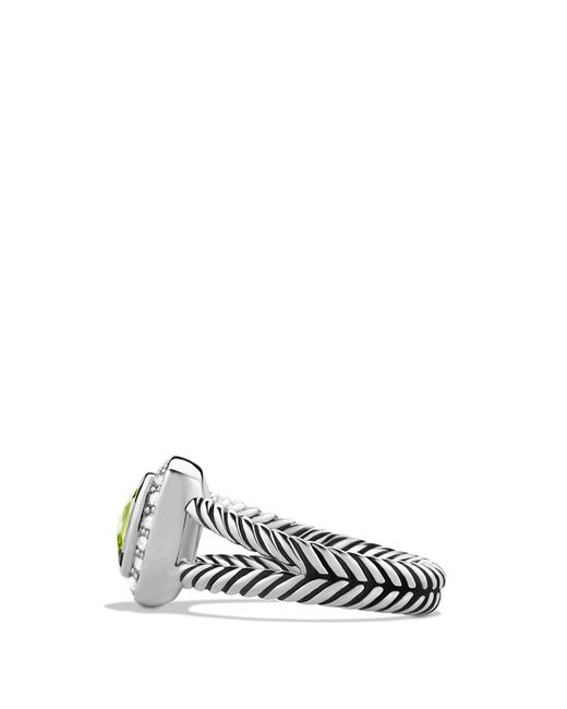 David Yurman | Metallic Petite Albion Ring With Peridot & Diamonds | Lyst