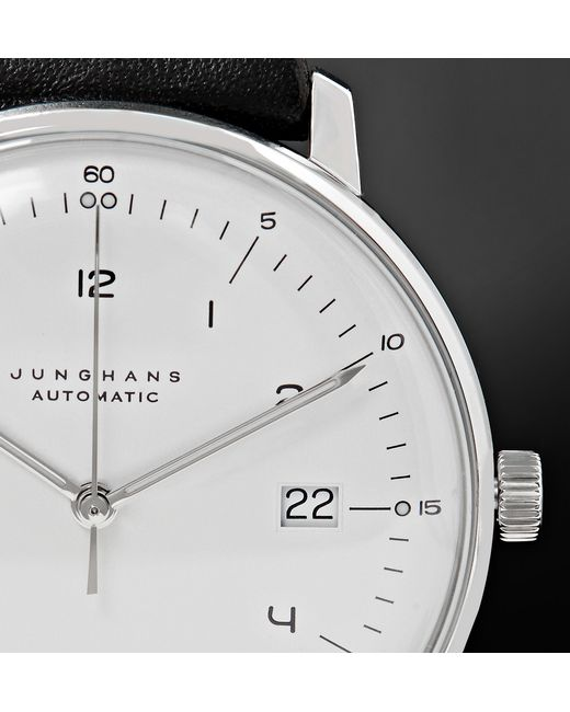 Junghans | White Max Bill Chronoscope 40mm Stainless Steel And Leather Watch for Men | Lyst