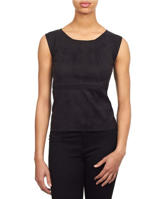 William Rast | Black Faux Suede Roundneck Top | Lyst