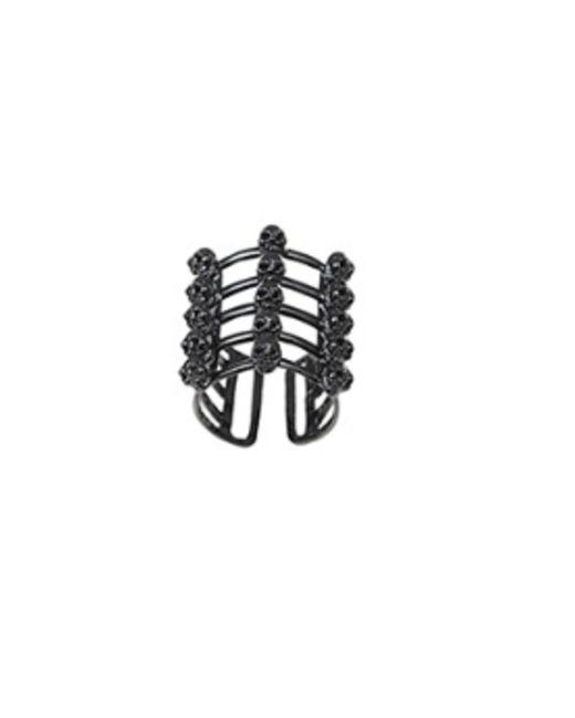 Bernard Delettrez | Cage And Skulls Black Bronze Ring | Lyst